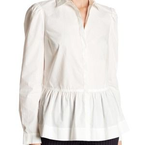 Rebecca Taylor White Button Down Peplum Shirt
